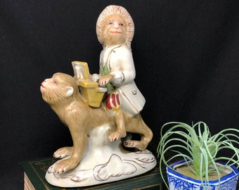 Chinoiserie 'Monkey Mozart' Musician Figurine, One Monkey Riding on Back of Another While Playing the Piano
