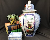 Imari-Style Hexagon Temple Jar with Floral Designs, Bird Motifs and Blue and White Decor - Gold Trim - 12 1 2 quot Tall