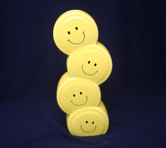 Happy Face Vase Smiley Face Bud Vase Stacked Smiley Faces Etsy