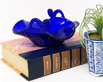 Fenton Royal Blue Bonbon Candy Dish - Two-Handled, Dolphin Series - Made from the Mid 1920s-1930s