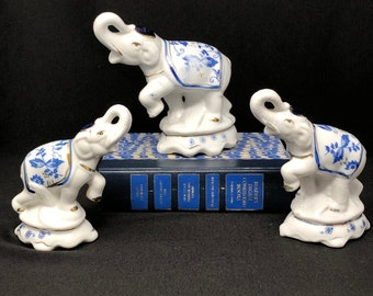 Blue and White Elephants - Blue Onion Design - Trunk and Foot Up - Set of 3