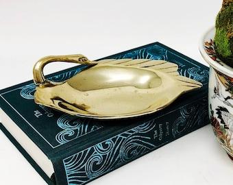 Vintage Brass Swan Trinket/Jewelry Dish - Swan Catchall - Brass Change Holder