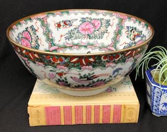"""Large Chinese Rose Medallion Bowl - 10"""" Diameter"""