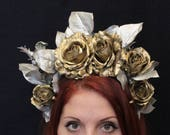 Deadhead Golden Silver rose fiesta floral flower crown gold rose dia de los muertos headpiece frida kahlo sugar skull mexican Christmas