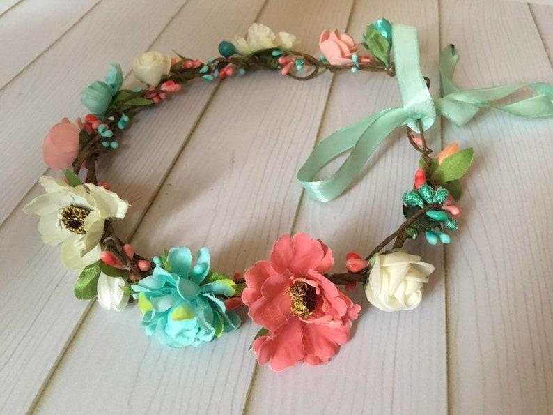 Bohemian Handmade Garland Headband Artificial Flower Crown Headband Female Girl Beach Wedding Wreath Head,Beige pink