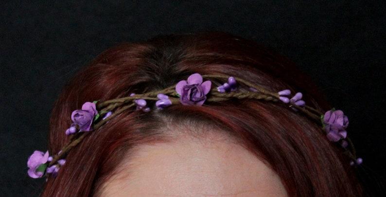 Rustic Purple Flower Twig Crown Bridal Girl Wedding Halo Boho Hair Accessory Greenery floral wreath Wreath Pip Berries Rose Kid Baby