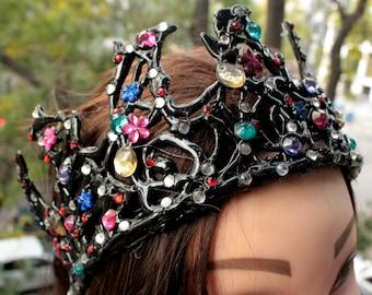 Black swan crown tiara little witch costume headpiece headband masquerade fancy cosplay ballet children halloween bridal shower Dark Qeen