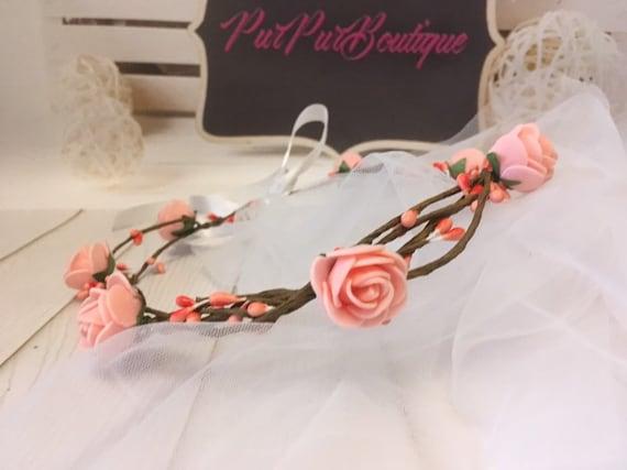 Women Flower Headband With Ribbon Wreath Wedding Garlands Floral Crown Hairband