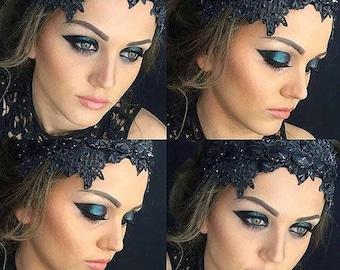 black crown gothic wedding crown black tiara gothic wedding headpiece halloween hair piece evil queen crown gothic bridal shower dark fairy