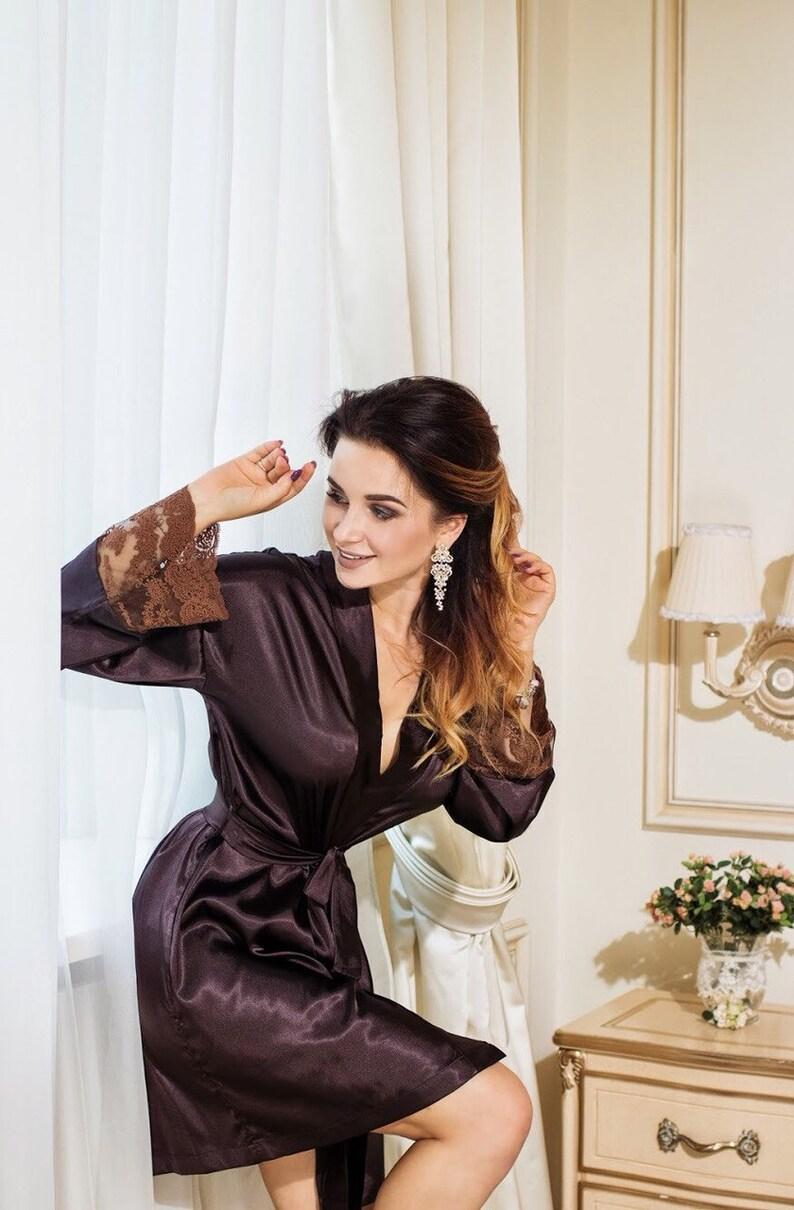 9e46fd3d5e5e Bridal set lace nightgown Chocolate lingerie Brown bridal robe