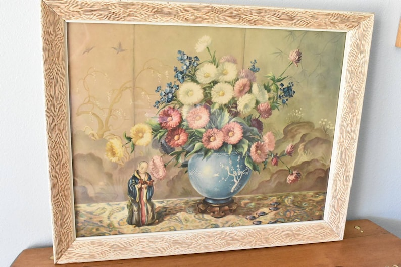 statue with bowl vase of chrysanthemums 20x25 frame unknown signature Vintage 1930s-40s still life print very nice
