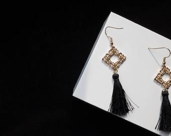 Valentine's Day Night Out | Black Tassel Drop Earrings