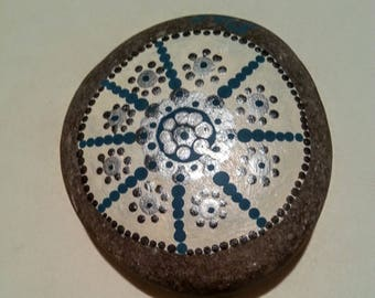 Blue and silver Mandala river rocks dot art pointillism