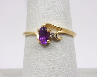 Solid 10K Yellow Gold Amethyst and Diamond Ladies Ring Size 6.25, Magic Glo
