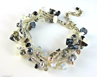 Silver beaded bracelet, black and white bracelet, crochet jewellery, opal, multi strand bracelet, crystal bracelet, boho chic