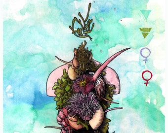 Illustration. Print. Elements. Nature. Water. Earth. Ecological printing. Elemental Creatures. A4. Watercolor. Ink.