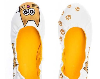 Silence of the Bees Foldable / Rollable slip on, ballet flat, ballerina shoes- Nightcat printed cat paws Silence of the Bees