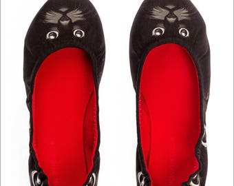 Silence of the Bees Foldable / Rollable slip on, ballet flat, ballerina shoes- Black Cat printed