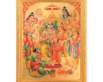 33 Koti Devi Devta Golden Foil Photo In Golden Frame Big 14