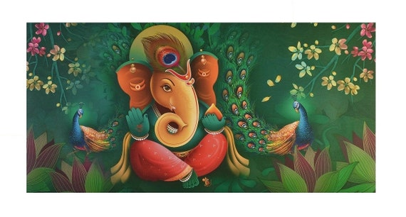 Shree Ganesh Wall Sticker Poster Big Without Frame 24 X 48 Etsy