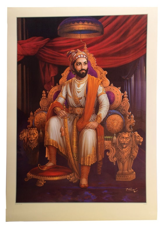 painting print shivaji maharaj warrior paper poster etsy