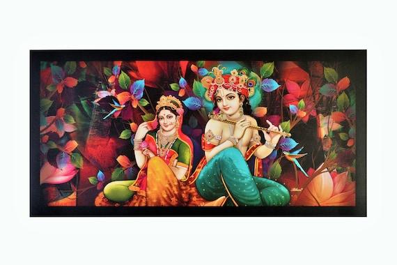 Meistverkaufte Radha Krishna Wand Aufkleber Poster Ohne Rahmen Etsy