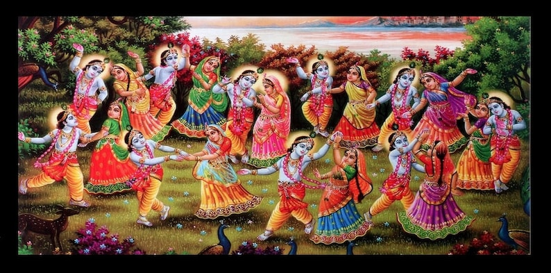20 X 40 Inches Radha Krishna Raasleela Sparkle Print Poster Without Frame