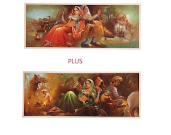 Top Selling Set Of 2 Rajasthan Village Culture Painting Print Fine Poster Without Frame (20 X 40 Inches)