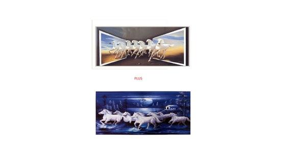 Beautiful Painting Set Of 2 Running Vastu Horses Poster Print | Etsy