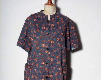 dress 60s Midnight blue and orange flower