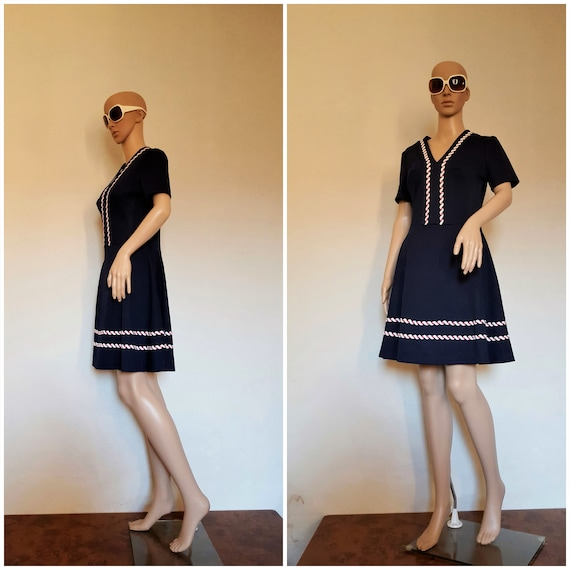 60s dress short Navy Blue, vintage dress