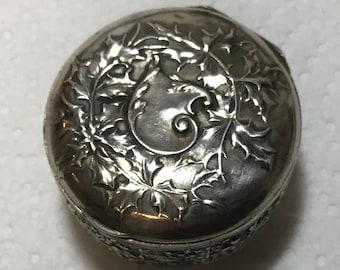 trinket box pill pot ring box Fabulous antique VictorianEdwardian continental 830 silver cherub putti angel twin embossed snuff box