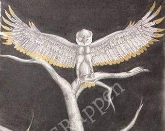 """12""""x18"""" Original graphite drawing gold tipped eagle wings baby nest dark art"""