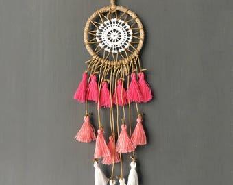Handmade tassel mini dream catcher for car mirror