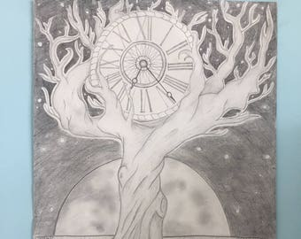 Tree Clock Moon Drawing