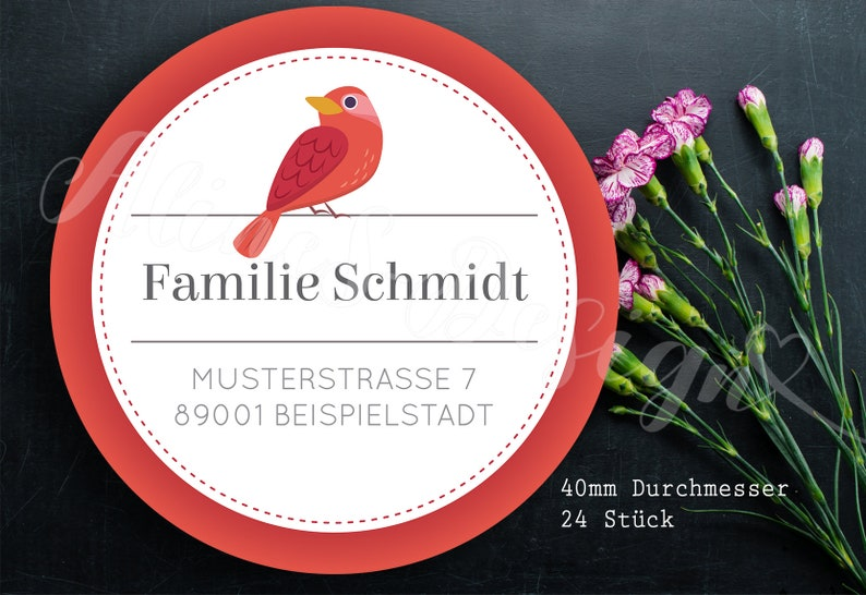 bird red home address 24 personalized address sticker flowers home
