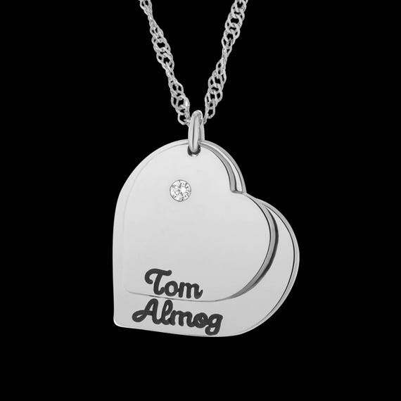 b15ac3a4dedddf Heart Name Necklace Custom Heart Necklace Personalized   Etsy
