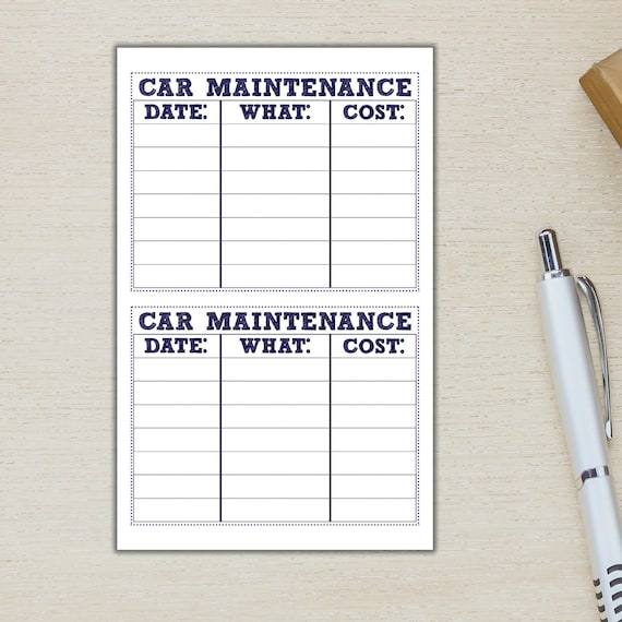 car maintenance note page tiles ec car repair sticker car etsy