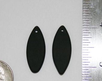 Black Sea Glass, 2 pieces, 33X13mm, flat, marquise-shaped pendants