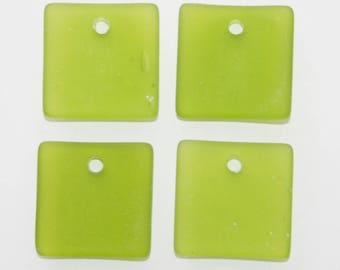 Lime Green Sea Glass, 2 pieces, 22mm,  Bottle Curved Large Square