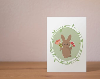 Bunny with flowers - A6 Postcard