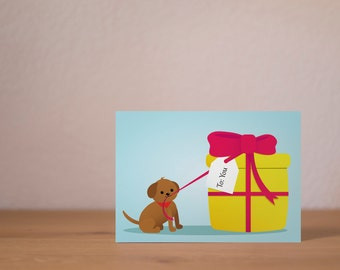 Dog with present - A6 Postcard
