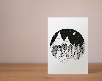 Mountains at night - A6 Postcard