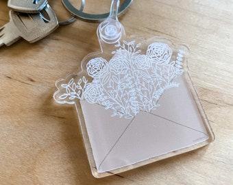 botanical envelope acrylic keychain // floral, white flowers key fob, floral illustration key chain, cute keychain, clear envelope keychain