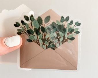 eucalyptus leaves sticker / botanical plant sticker for hydroflask, clear foliage sticker, vinyl waterproof sticker, eucalyptus illustration