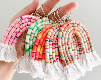 indie dyed yarn rainbow key chain, boho macrame rainbow bag charm, hand dyed yarn fiber rainbow keychain, backpack key ring, rainbow keyring
