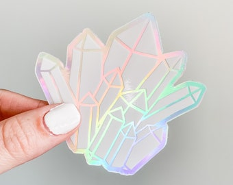 holographic crystal sticker / holographic decal, crystal holo sticker, holographic witchy sticker, magic decal, vinyl sticker for hydroflask