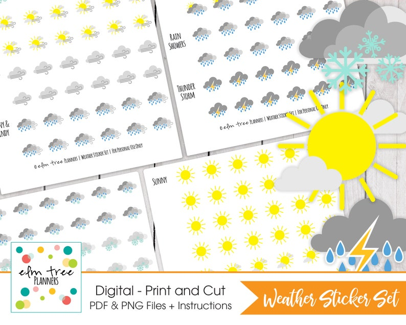photo about Printable Weather Forecast identified as Climate Printable Planner Stickers Functions with ALL Planners 13 Temperature Disorders Print and Lower Stickers Instantaneous Obtain