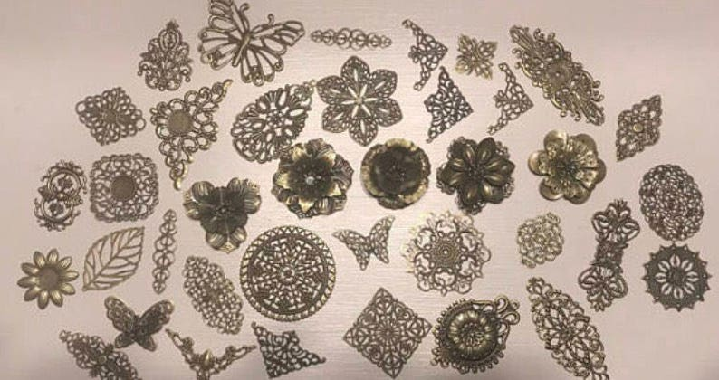 Powertex Supplies Mixed Media Crafts jewellery Journal Supplies Filligree 100 Metal embellishments Bronze metal Embellishments