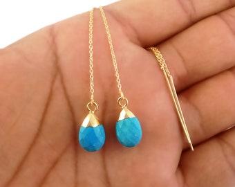 Boho Earrings Long Gold Dangle Earring Ear Threaders TH-C Minimalist Jewelry Turquoise Threader Earrings Gemstone Spike Earrings